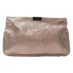 JIMMY CHOO metallic gold leather logo buckle detail top zip pouch zip clutch bag
