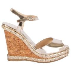 JIMMY CHOO metallic gold leather PERLA Wedge Sandals Shoes 36