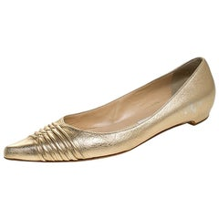 Jimmy Choo Metallic Gold Leather Pointed Ballet Flats Size 38.5