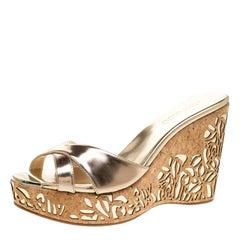 Jimmy Choo Metallic Gold Leather Prova Laser Cut Cork Wedge Sandals Size 40