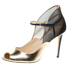 Jimmy Choo Metallic Gold Leather With Blue Mesh Trudie Peep Toe Pumps Size 41