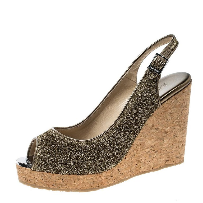 bd18d32db00c Jimmy Choo Metallic Gold Lurex Prova Slingback Cork Wedge Sandals Size 41  For Sale at 1stdibs