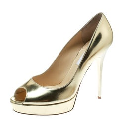 4c72b2b3ec Jimmy Choo Metallic Gold Patent Leather Crown Peep Toe Platform Pumps Size  40