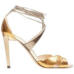 JIMMY CHOO metallic gold wrap around ankle strappy high heel sandals EU36.5