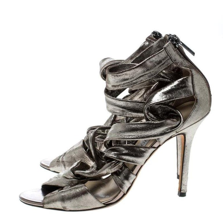 97c9a17266d9 Jimmy Choo Metallic Grey Leather Ankle Strap Sandals Size 38 For ...