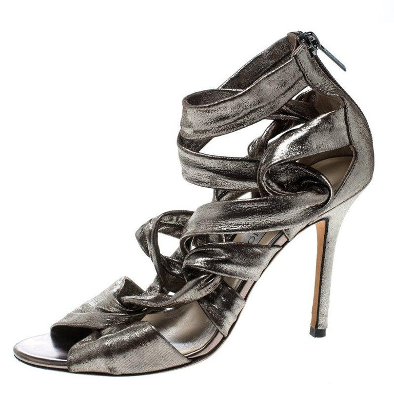 032c2d011964 Jimmy Choo Metallic Grey Leather Ankle Strap Sandals Size 38 For Sale at  1stdibs