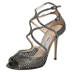 Jimmy Choo Metallic Grey Mesh And Leather Embellished Sandals Size 38.5