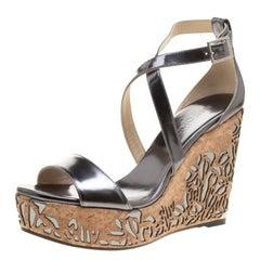 Jimmy Choo Metallic Grey Portia Laser Cut Cork Wedge Cross Strap Sandals Size 41