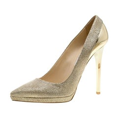 Jimmy Choo Metallic  Lamè and Leather Aude Pointed Toe Platform Pumps Size 41