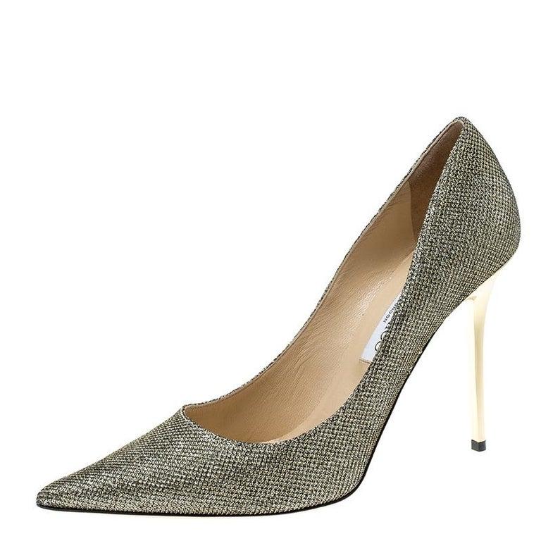 5bd9ccba870 Jimmy Choo Metallic Lamè Glitter Abel Pointed Toe Pumps Size 41.5 For Sale