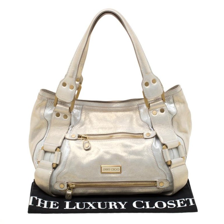 Jimmy Choo Metallic Leather Malena Satchel For Sale 6