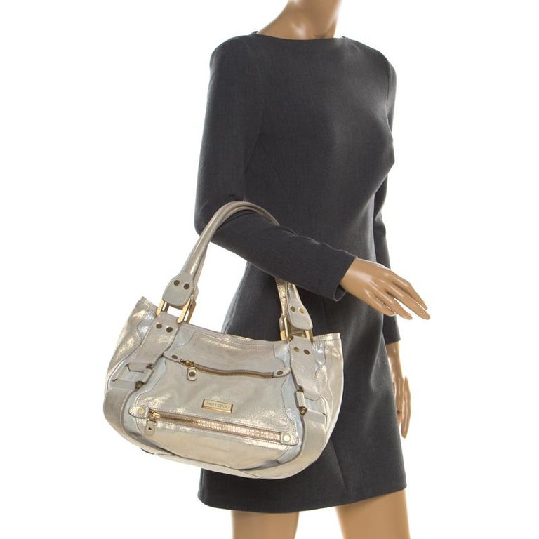 Beige Jimmy Choo Metallic Leather Malena Satchel For Sale