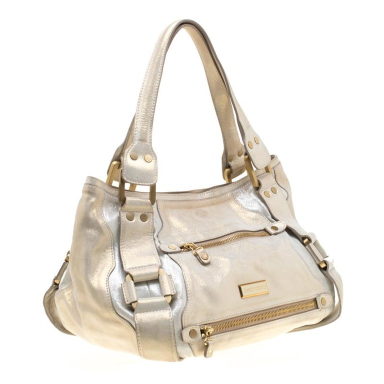 Jimmy Choo Metallic Leather Malena Satchel In Excellent Condition For Sale In Dubai, Al Qouz 2