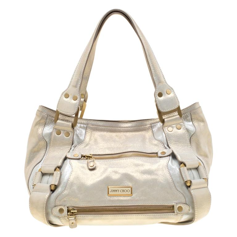 Jimmy Choo Metallic Leather Malena Satchel For Sale
