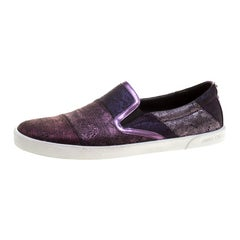 Jimmy Choo Metallic Purple Lace Demi Slip On Sneakers Size 40