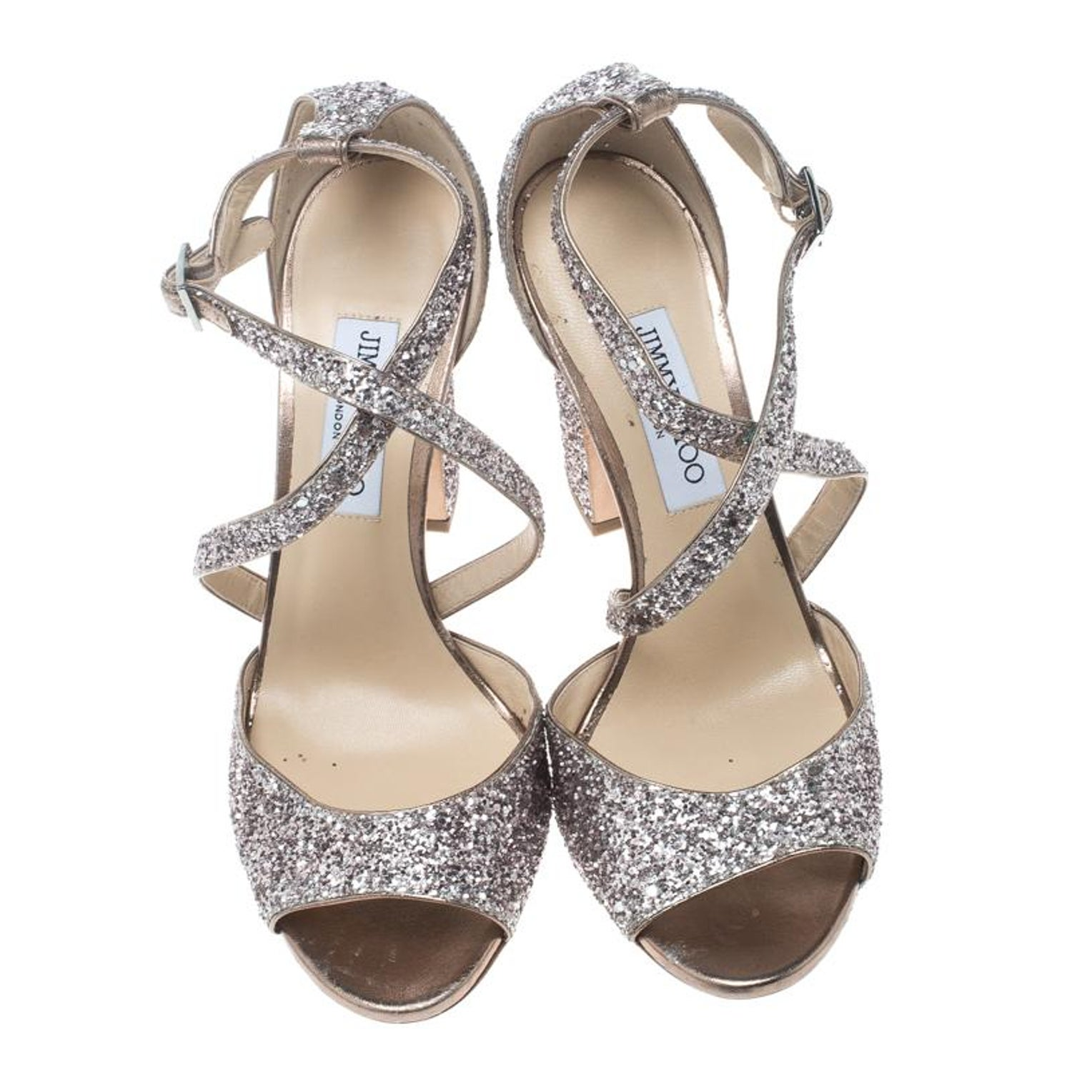 e02e8cda233e Jimmy Choo Metallic Rose Coarse Glitter Carrie Cross Strap Sandals Size 41  For Sale at 1stdibs