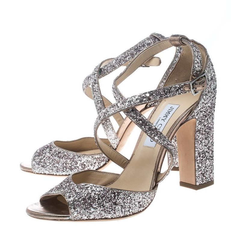Women's Jimmy Choo Metallic Rose Coarse Glitter Carrie Cross Strap Sandals Size 41 For Sale