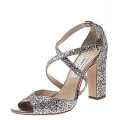 Jimmy Choo Metallic Rose Coarse Glitter Carrie Cross Strap Sandals Size 41