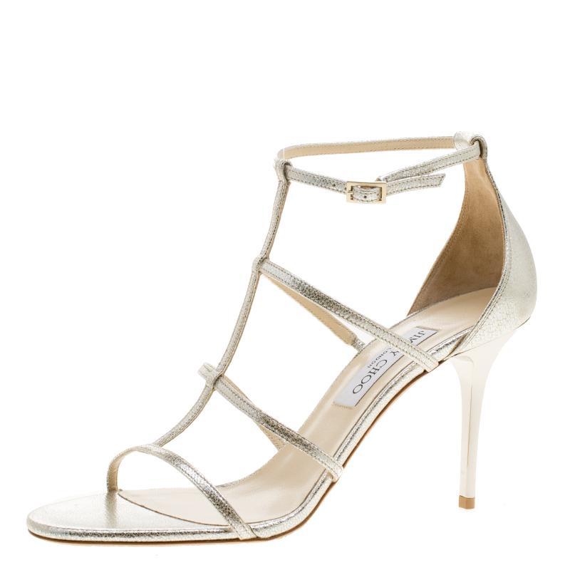 743ff67fa2db Jimmy Choo Metallic Silver Dory Caged Sandals Size 40.5 at 1stdibs