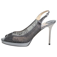 Jimmy Choo Metallic Silver Lace And Leather Nova Sandals Size 40