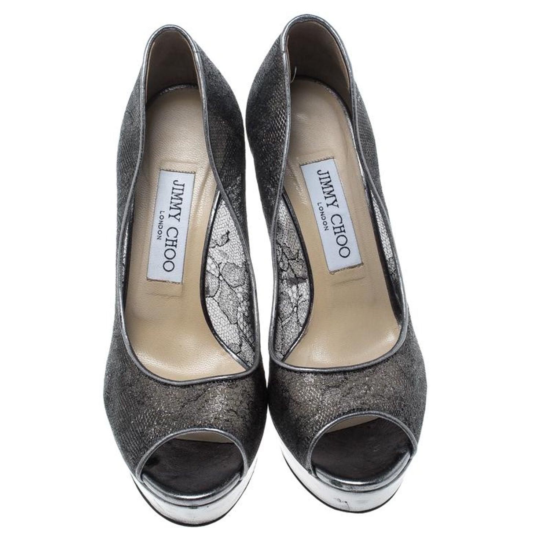 3a28265737a9 Jimmy Choo Metallic Silver Lace Dahlia Peep Toe Platform Pumps Size 37 For  Sale at 1stdibs