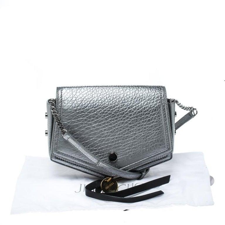 8d77668524dba Jimmy Choo Metallic Silver Leather Arrow Crossbody Bag at 1stdibs