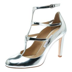 Jimmy Choo Metallic Silver Leather Doll Caged Round Toe Pumps Size 40
