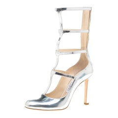 Jimmy Choo Metallic Silver Leather Dundee Cage Pumps Size 37.5