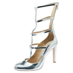 Jimmy Choo Metallic Silver Leather Dundee Cage Pumps Size 40.5