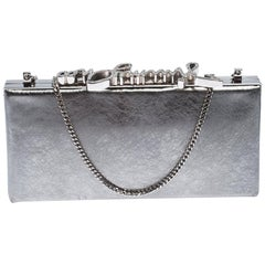 Jimmy Choo Metallic Silver Leather Vintage Celeste Clutch