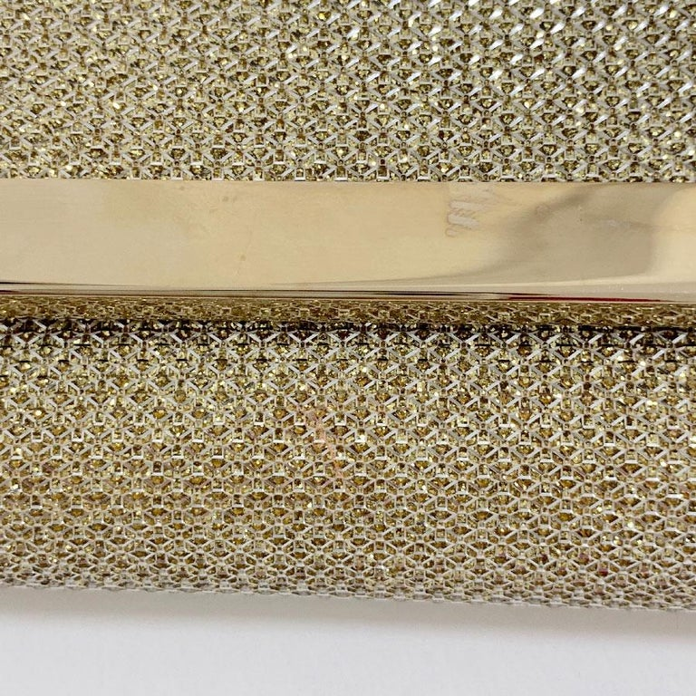 JIMMY CHOO Milla Clutch Bag in Gold Lamé Leather For Sale 5