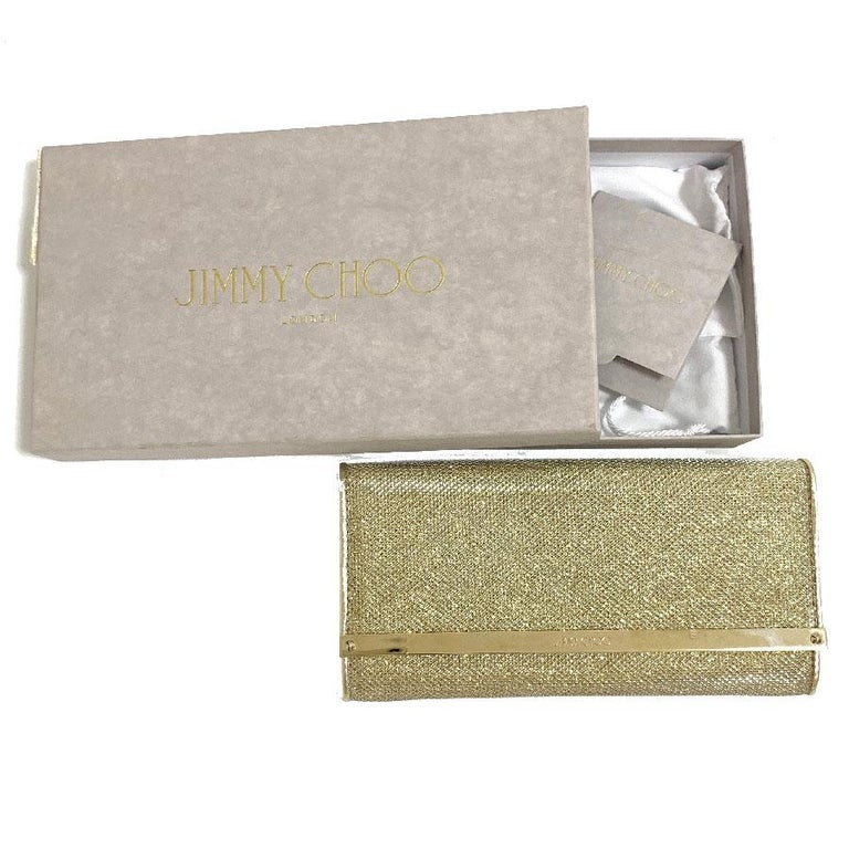 JIMMY CHOO Milla Clutch Bag in Gold Lamé Leather For Sale 6