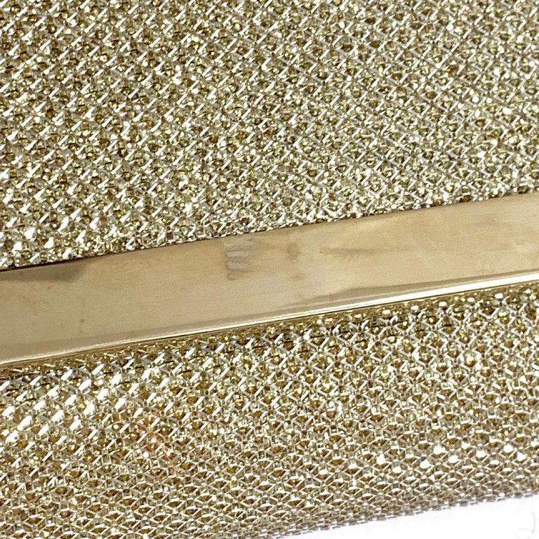 JIMMY CHOO Milla Clutch Bag in Gold Lamé Leather For Sale 7