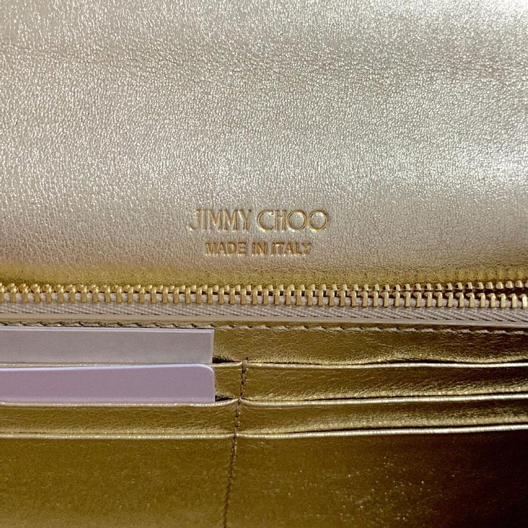 JIMMY CHOO Milla Clutch Bag in Gold Lamé Leather For Sale 8