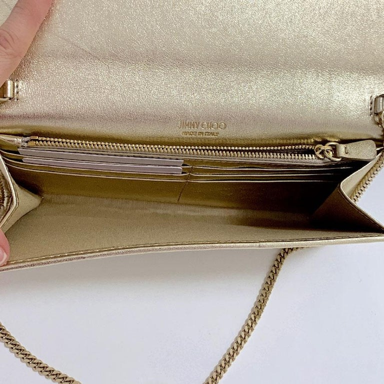 JIMMY CHOO Milla Clutch Bag in Gold Lamé Leather For Sale 9