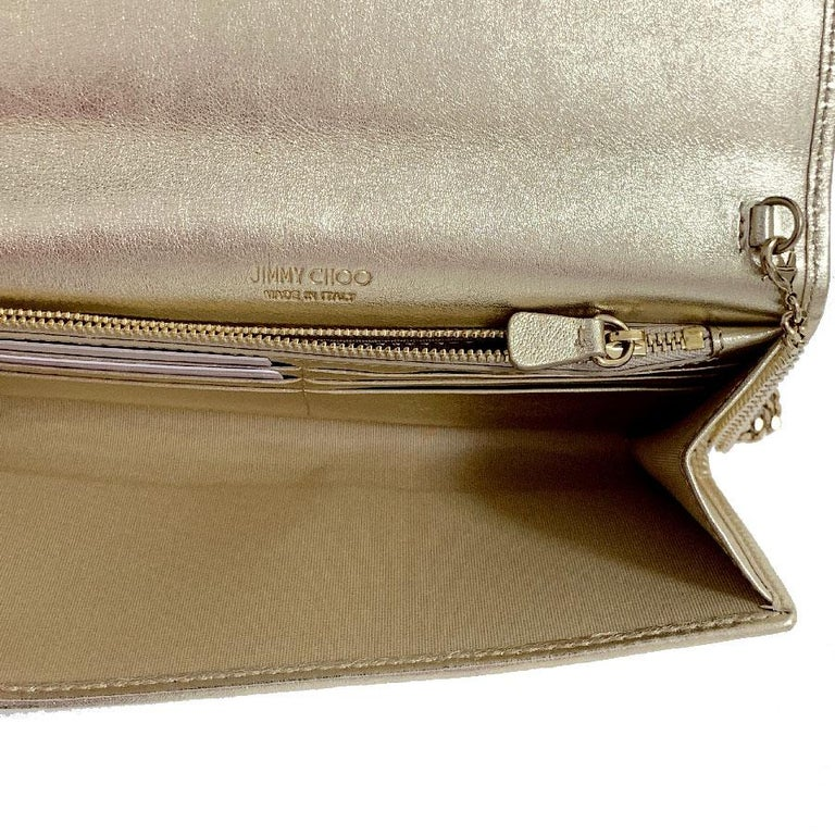 JIMMY CHOO Milla Clutch Bag in Gold Lamé Leather For Sale 10