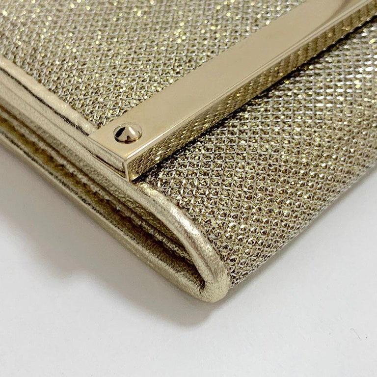 Brown JIMMY CHOO Milla Clutch Bag in Gold Lamé Leather For Sale