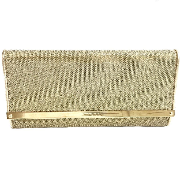 JIMMY CHOO Milla Clutch Bag in Gold Lamé Leather For Sale 3