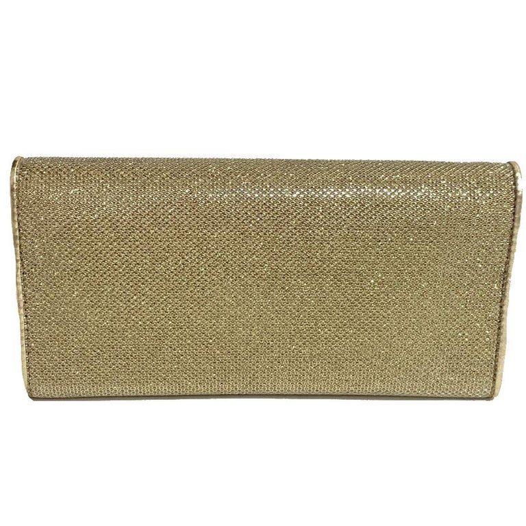 JIMMY CHOO Milla Clutch Bag in Gold Lamé Leather For Sale 4
