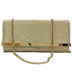 JIMMY CHOO Milla Clutch Bag in Gold Lamé Leather