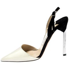 Jimmy Choo Monochrome Patent Leather And Suede Ankle Strap Sandals Size 35
