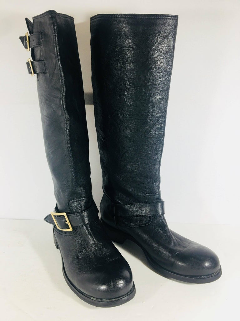 c0096a12170e Jimmy Choo Black Leather Knee High Motorcycle Boot with Gold Hardware.