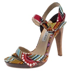 Jimmy Choo Multicolor Canvas Strappy Platform Sandals Size 40