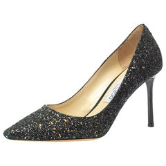 Jimmy Choo Multicolor Coarse Glitter Romy Pointed Toe Pumps Size 39