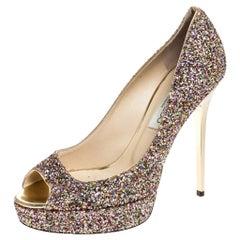 Jimmy Choo Multicolor Glitter Crown Peep Toe Pumps Size 38