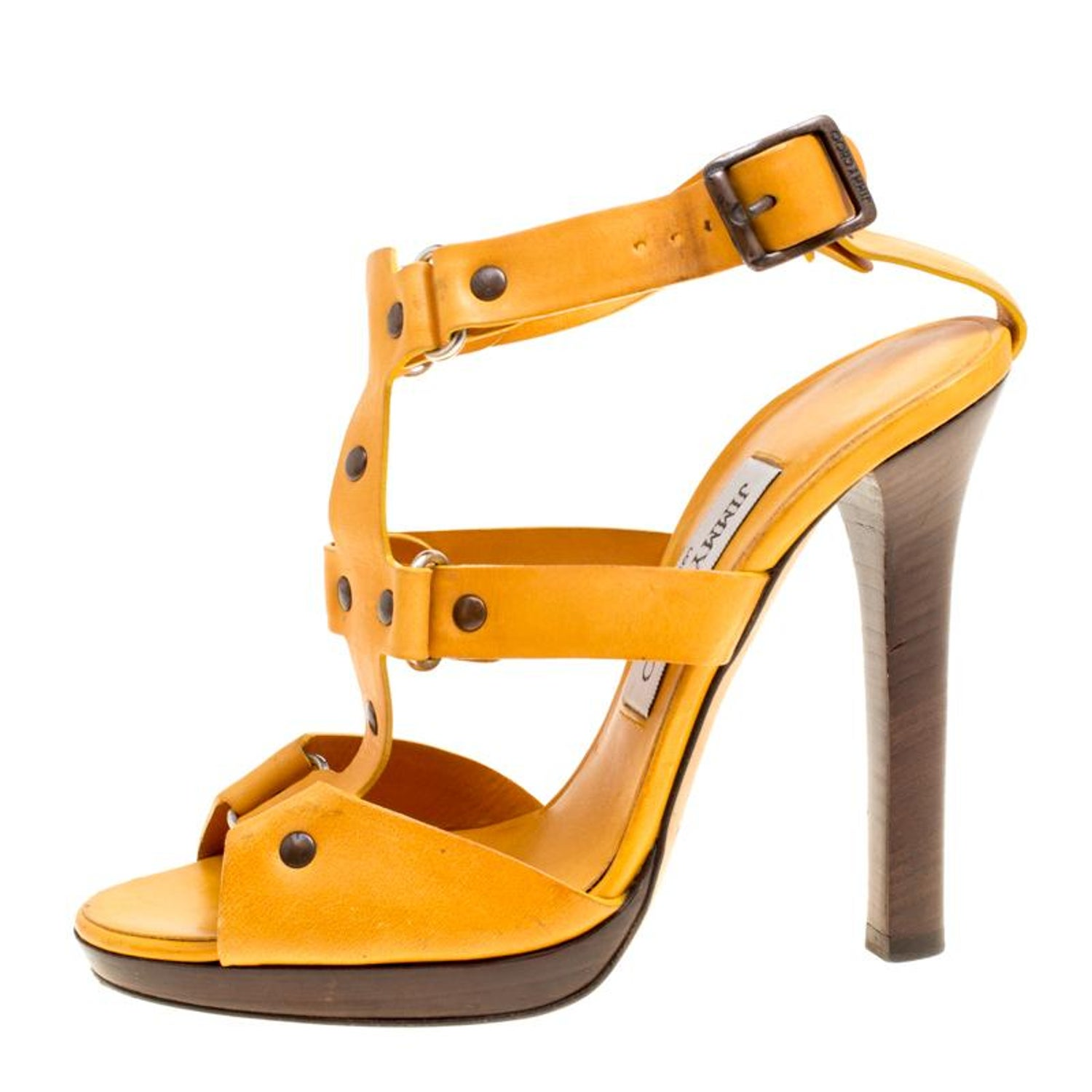 d6154f27c4a Jimmy Choo Mustard Yellow Studded Leather Cage Sandals Size 37