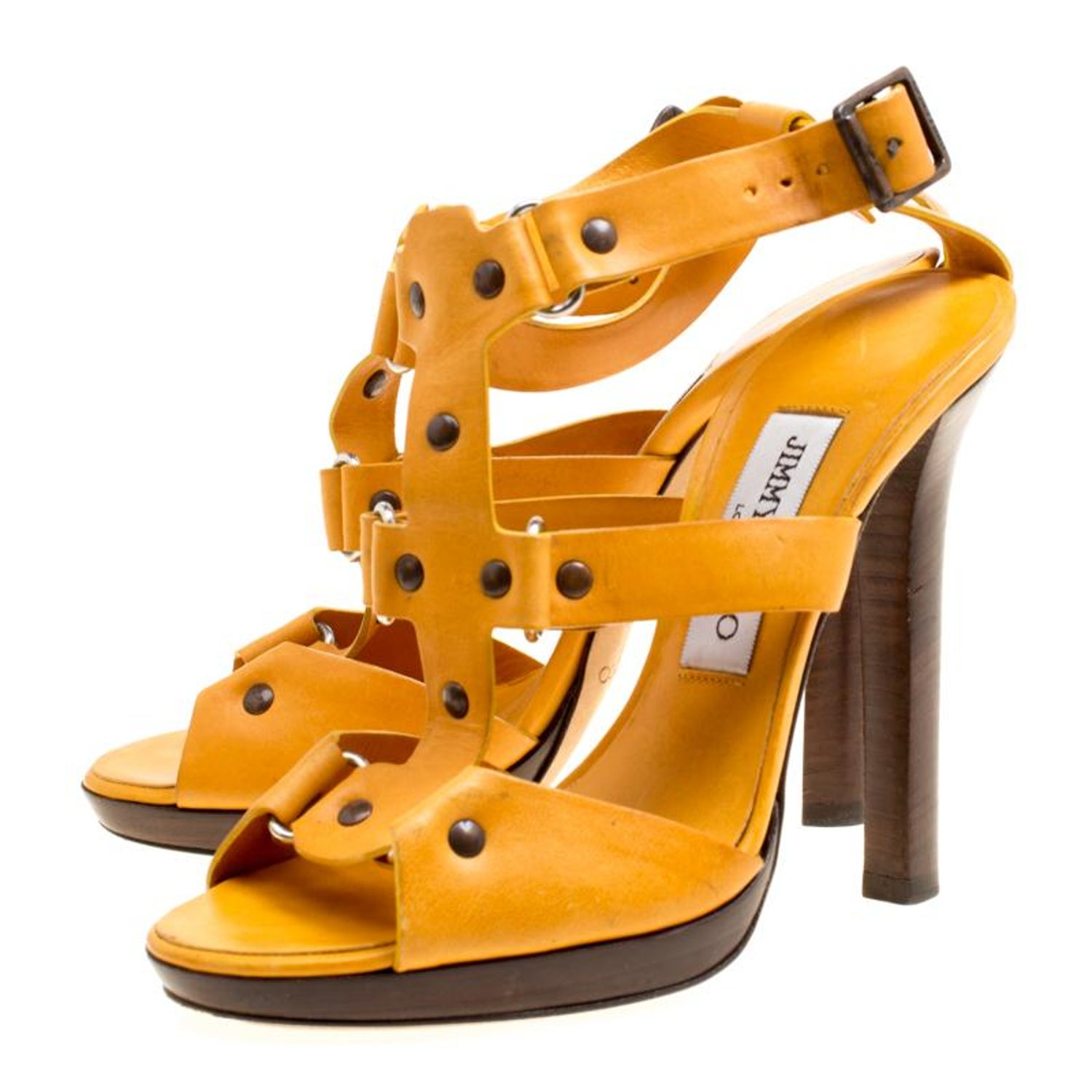 c61ea3d7d8e Jimmy Choo Mustard Yellow Studded Leather Cage Sandals Size 37 For Sale at  1stdibs