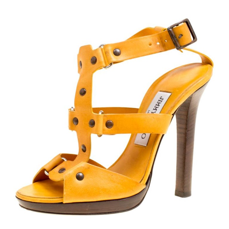 f3fef5f0e4f0 HomeFashionClothingShoes. Jimmy Choo Mustard Yellow Studded Leather Cage  Sandals Size 37 For Sale