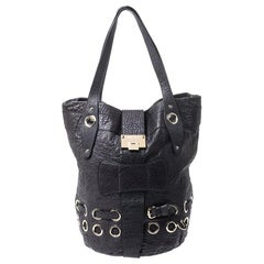 Jimmy Choo Navy Blue Leather Ramona Tote