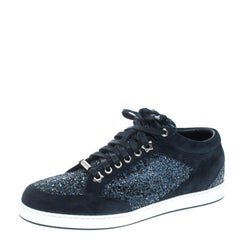Jimmy Choo Navy Blue Suede and Glitter Miami Sneakers Size 39
